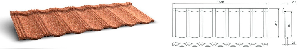 Размеры панели композитной черепицы GERARD Heritage