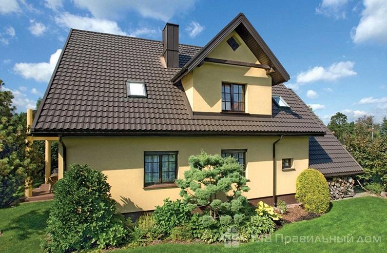 Сочетание цвета фасада и цвета крыши и фасада