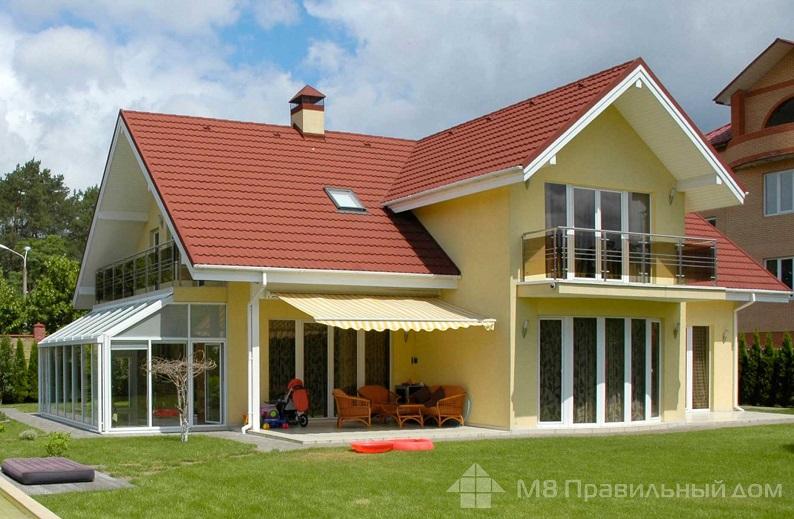 Цвет фасада дома с красной крышей фото